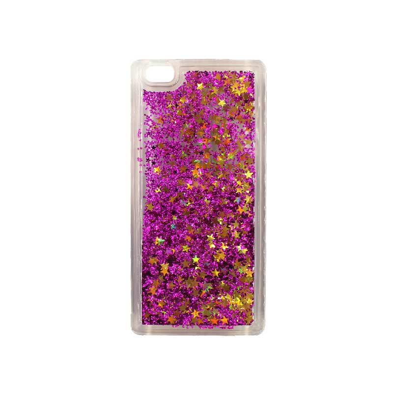 Θήκη Huawei P8 Lite Liquid Glitter φουξ 1