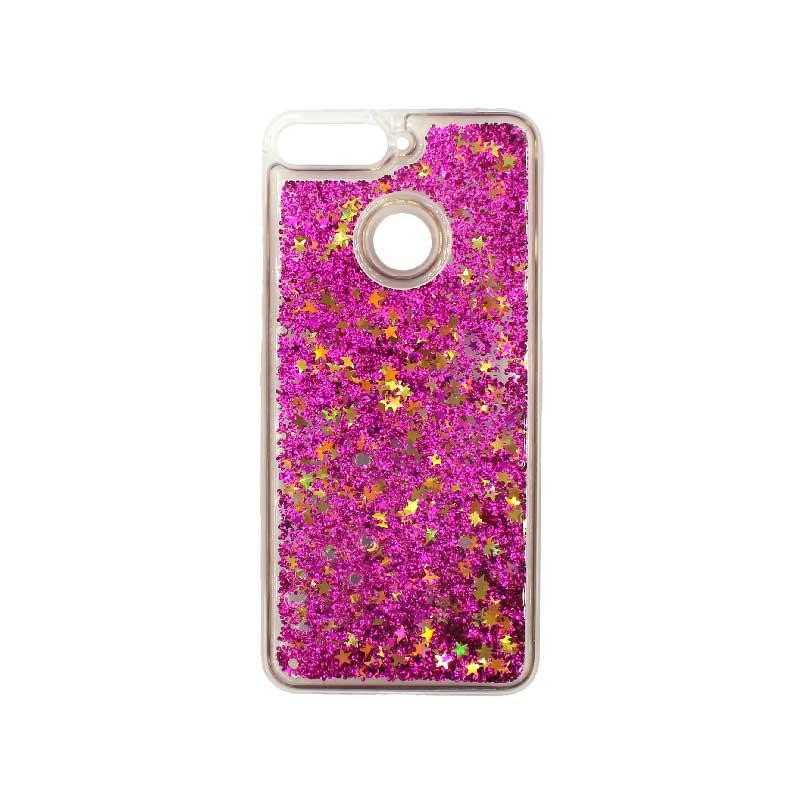 Θήκη Huawei Y6 2018 Liquid Glitter φουξ 1