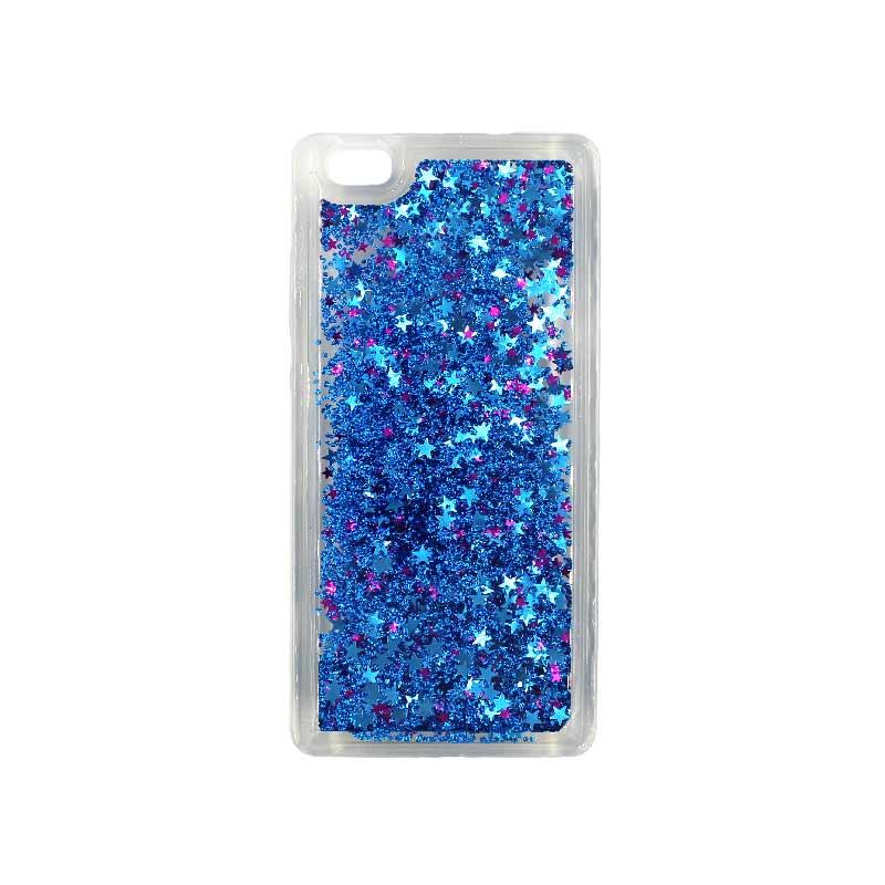 Θήκη Huawei P8 Lite Liquid Glitter μπλε 1