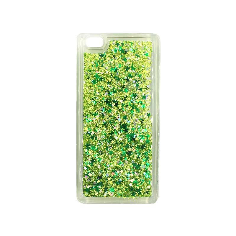 Θήκη Huawei P8 Lite Liquid Glitter πράσινο 1