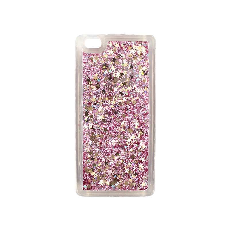 Θήκη Huawei P8 Lite Liquid Glitter ροζ χρυσό 1