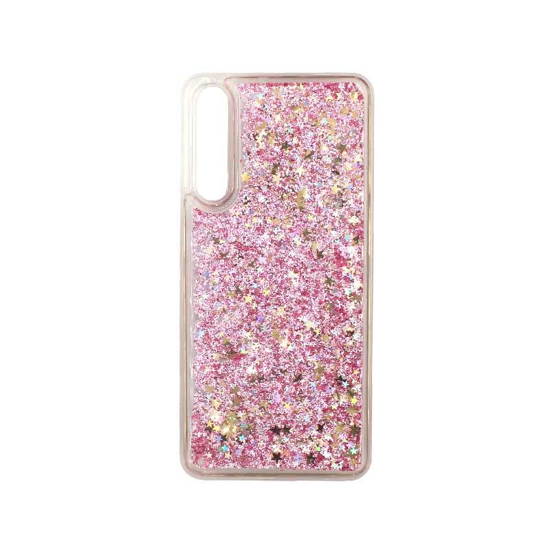 Θήκη Huawei P20 Pro Liquid Glitter ροζ χρυσό 1