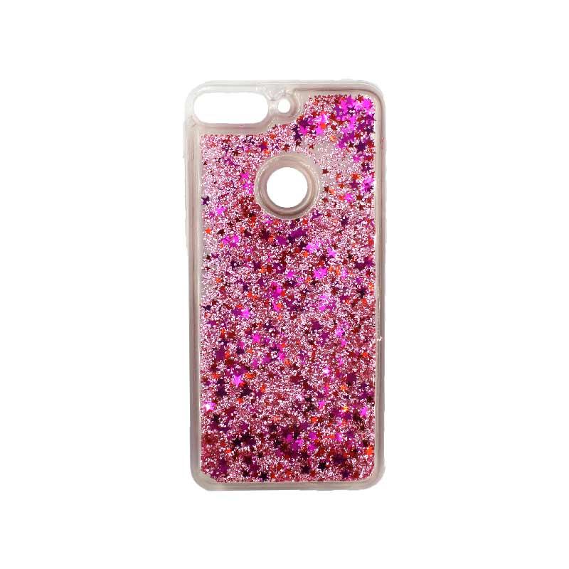 Θήκη Huawei Y7 2018 Liquid Glitter ροζ 1