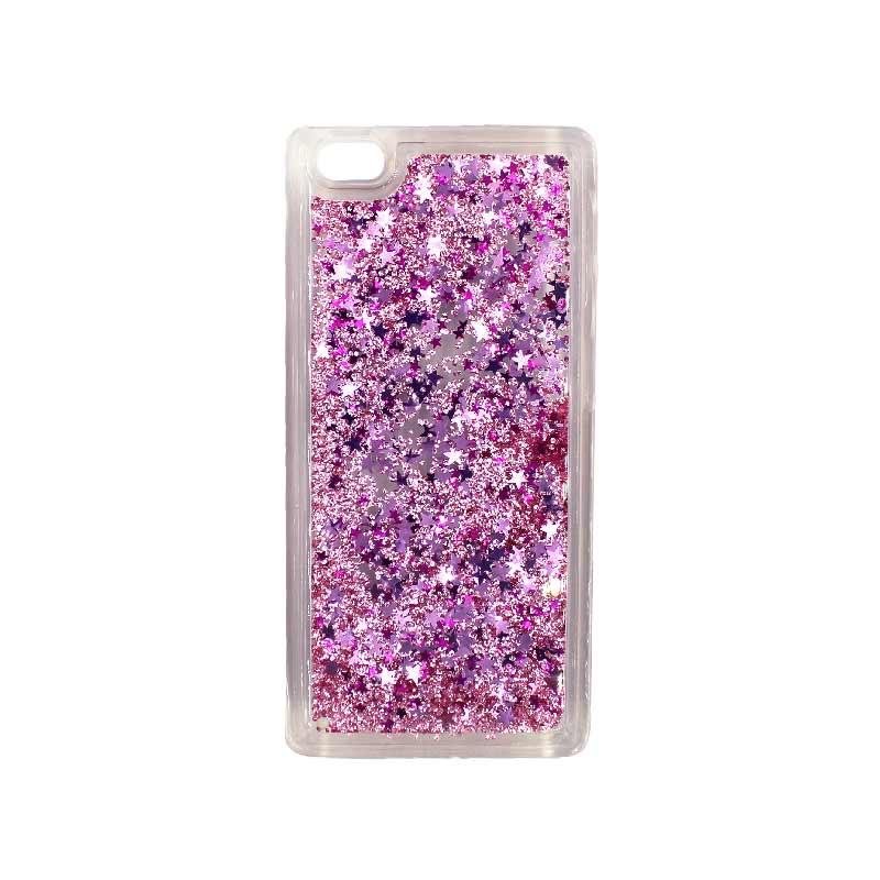Θήκη Huawei P8 Lite Liquid Glitter ροζ 1