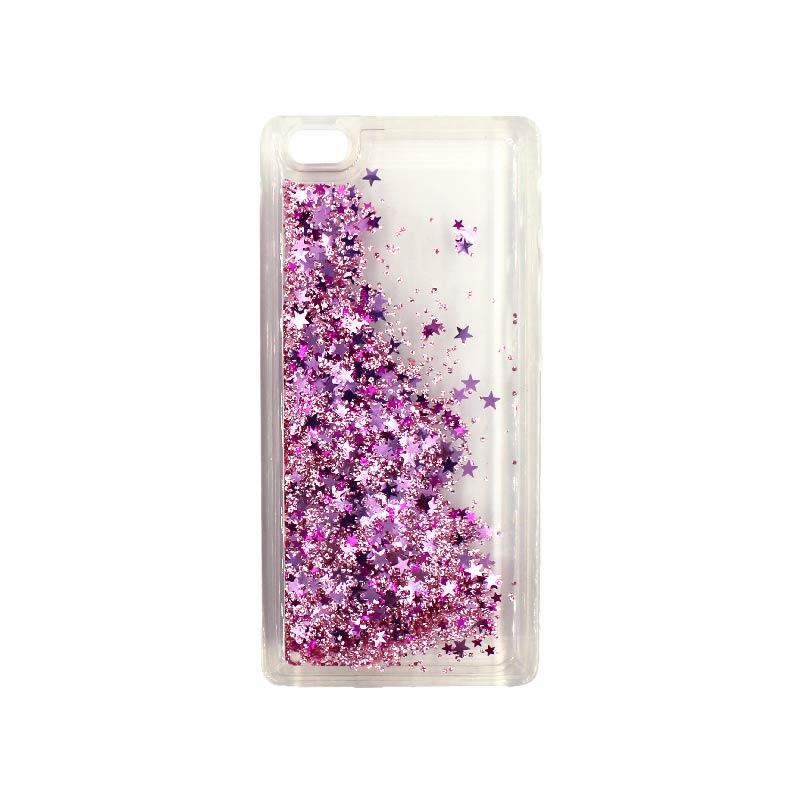 Θήκη Huawei P8 Lite Liquid Glitter ροζ 2