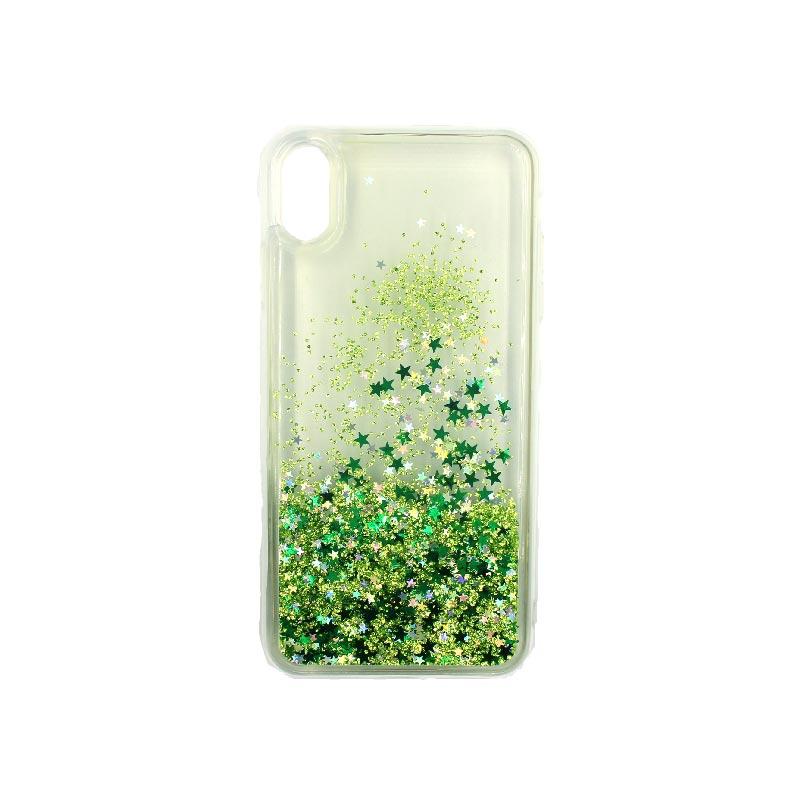 Θήκη Iphone Xs Max glitter με αστεράκια πράσινο 2