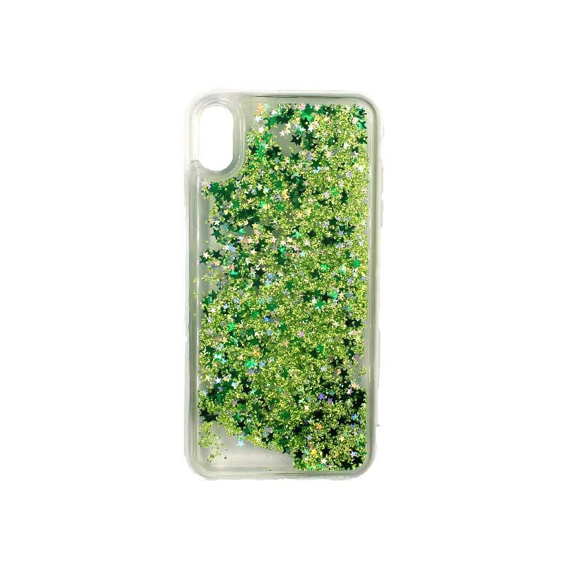 Θήκη Iphone Xs Max glitter με αστεράκια πράσινο 1