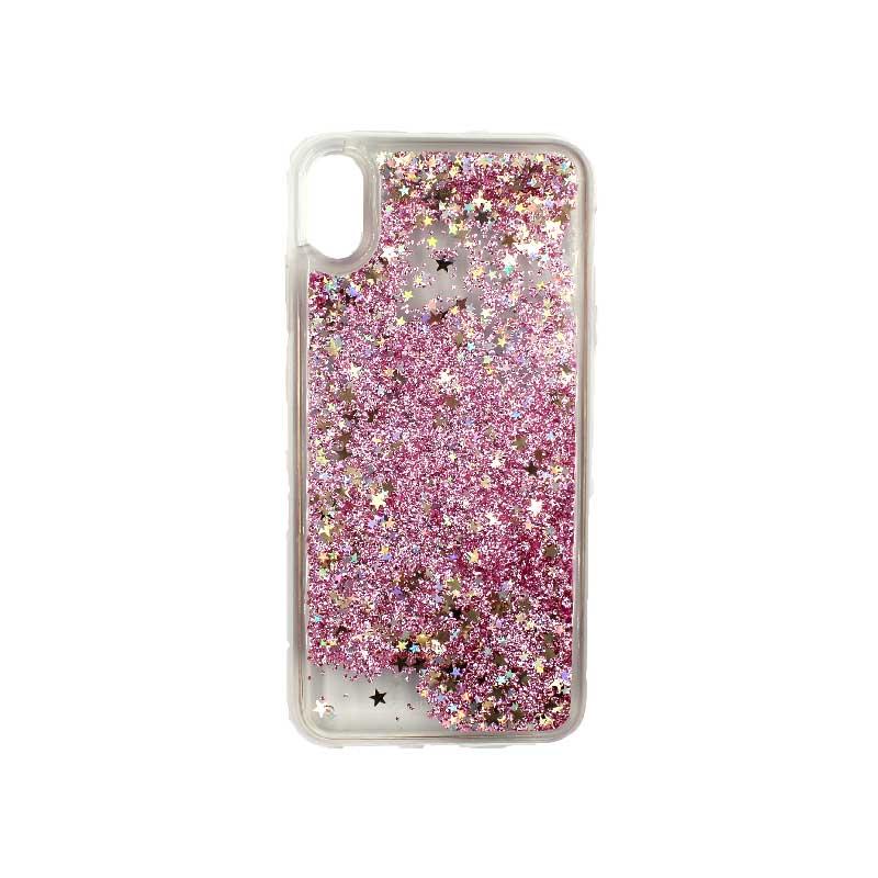 Θήκη Iphone Xs Max glitter με αστεράκια ροζ 1