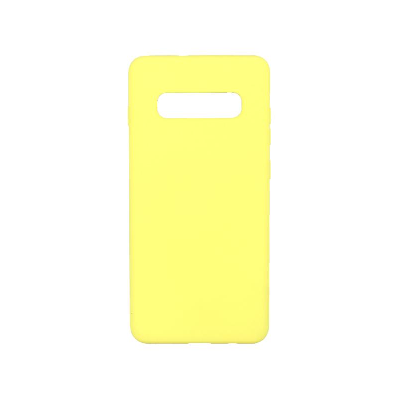 Θήκη Samsung Galaxy S10 Plus Silky and Soft Touch Silicone κίτρινο 1
