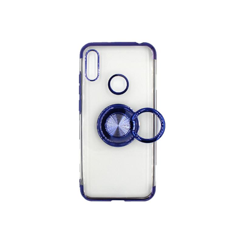 Θήκη Huawei Y6 2019 Διάφανη Σιλικόνη με Popsocket μπλε 2