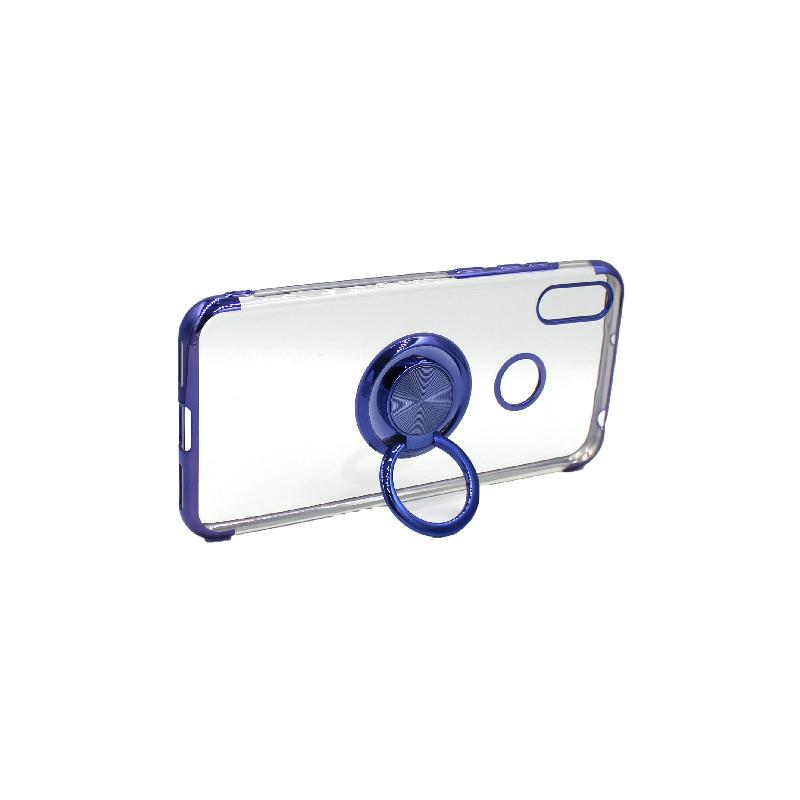 Θήκη Huawei Y6 2019 Διάφανη Σιλικόνη με Popsocket μπλε 3