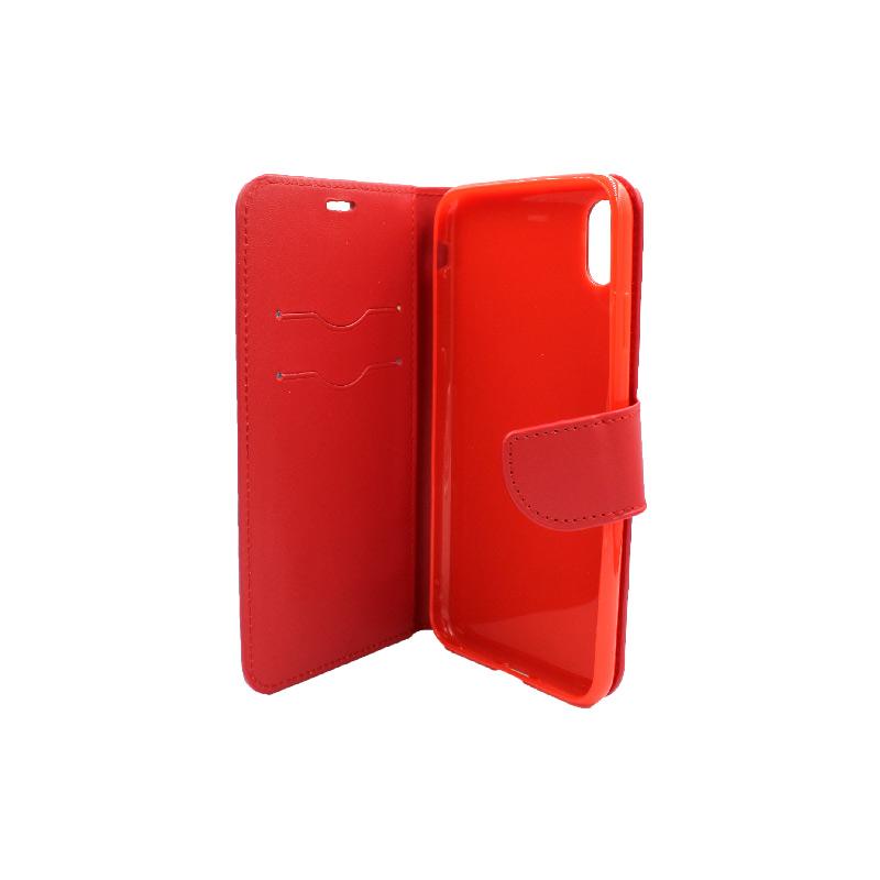 θήκη iphone Xs Max πορτοφόλι με κράτημα κόκκινο 3