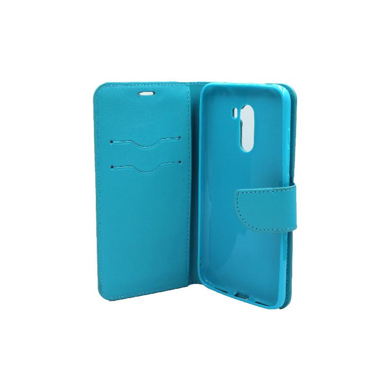 θήκη Xiaomi Pocophone F1 πορτοφόλι με κράτημα γαλάζιο 3