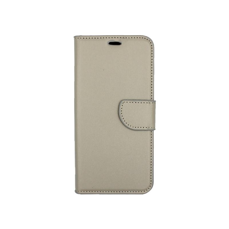 θήκη xiaomi Mi 8 Lite πορτοφόλι με κράτημα γκρι 1