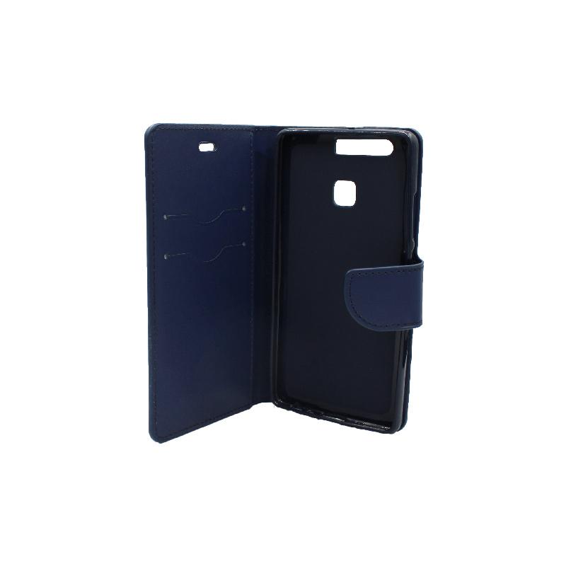 Θήκη Huawei P9 πορτοφόλι σκούρο μπλε 3