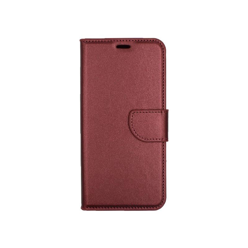 θήκη xiaomi Mi 8 Lite πορτοφόλι με κράτημα μπορντό1
