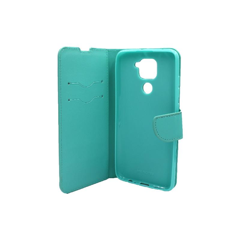 Θήκη Xiaomi Redmi Note 9 πορτοφόλι τιρκουάζ 3