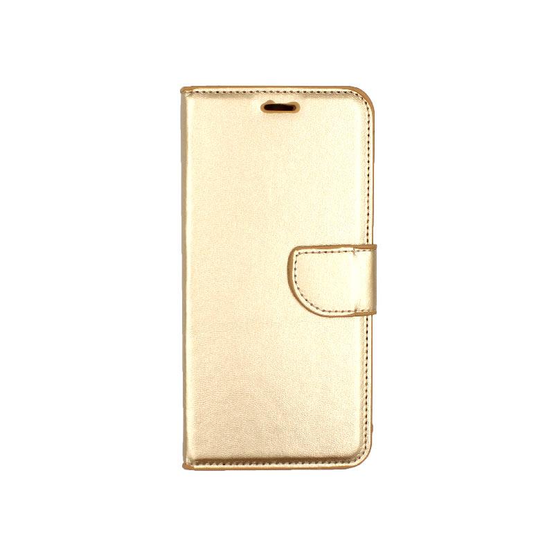 Θήκη Xiaomi Redmi Note 6 Pro πορτοφόλι χρυσό 1