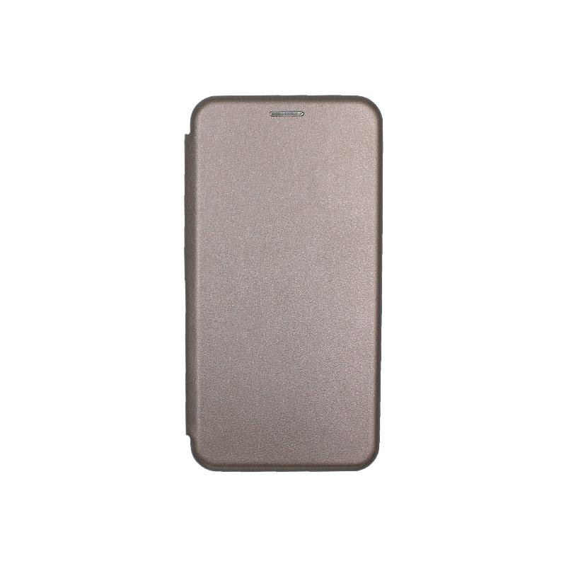 Θήκη Huawei Y6 2018 Πορτοφόλι με Μαγνητικό Κλείσιμο γκρι 1