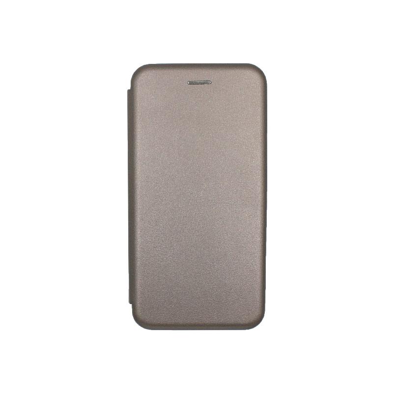 Θήκη Huawei Y6 2019 Πορτοφόλι με Μαγνητικό Κλείσιμο γκρι 1