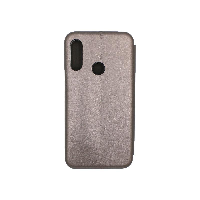 Θήκη Huawei Y6 2019 Πορτοφόλι με Μαγνητικό Κλείσιμο γκρι 2