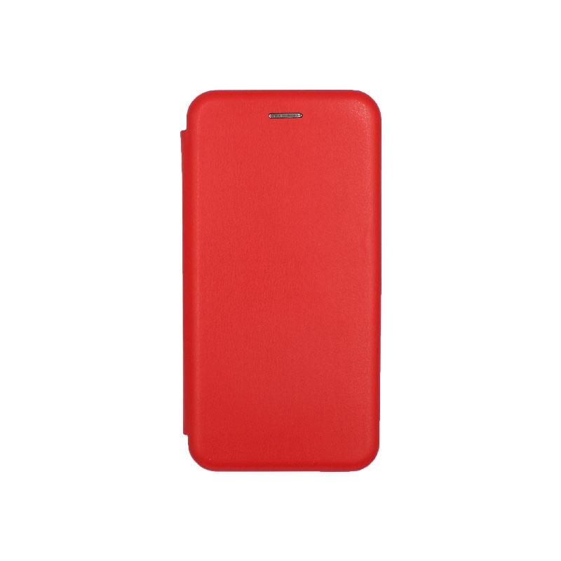 Θήκη Huawei Y6 2019 Πορτοφόλι με Μαγνητικό Κλείσιμο κόκκινο 1