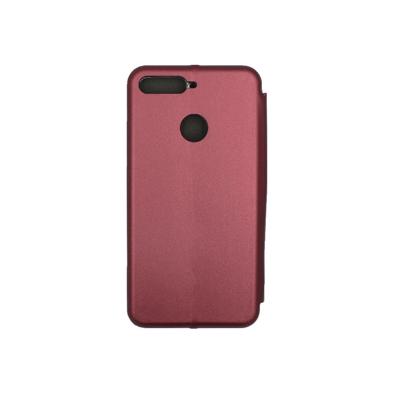 Θήκη Huawei Y6 2018 Πορτοφόλι με Μαγνητικό Κλείσιμο μπορντό 2