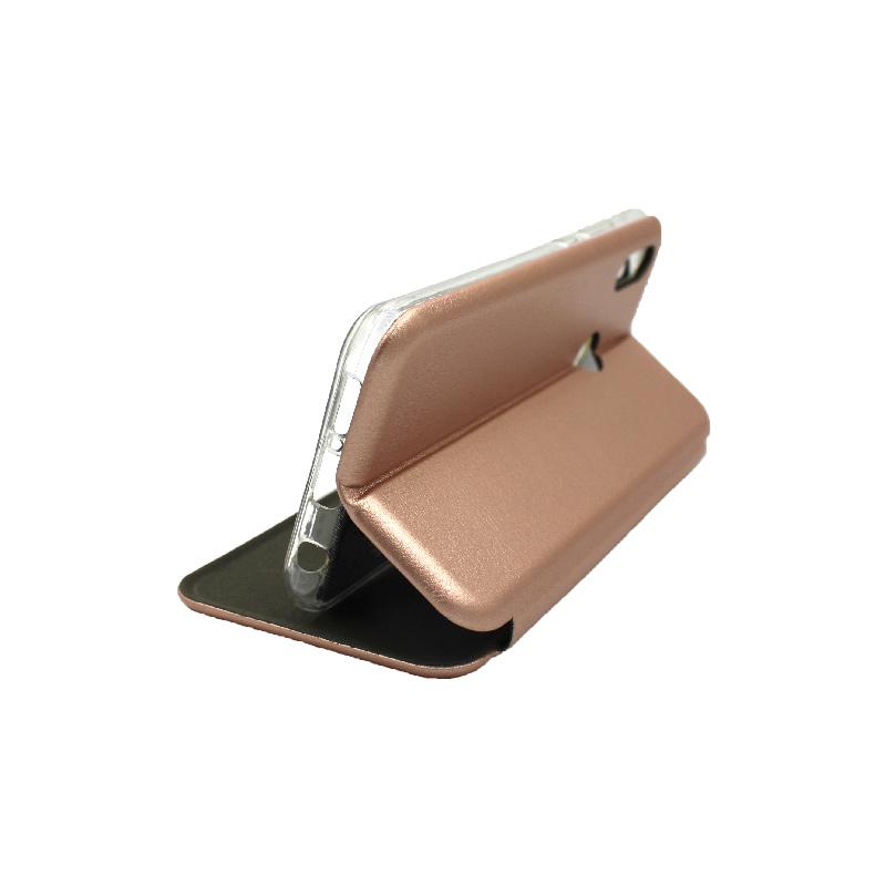 Θήκη Huawei P20 Lite Πορτοφόλι με Μαγνητικό Κλείσιμο ροζ χρυσό 4