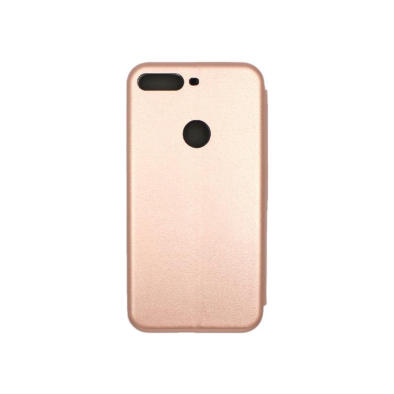 Θήκη Huawei Y7 2018 Πορτοφόλι με Μαγνητικό Κλείσιμο χρυσό 2