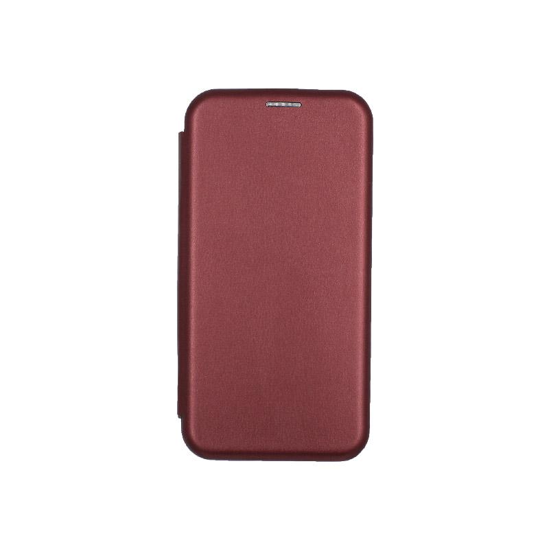 θήκη iphone Xs Max μαγνητικό κλείσιμο μπορντο 1