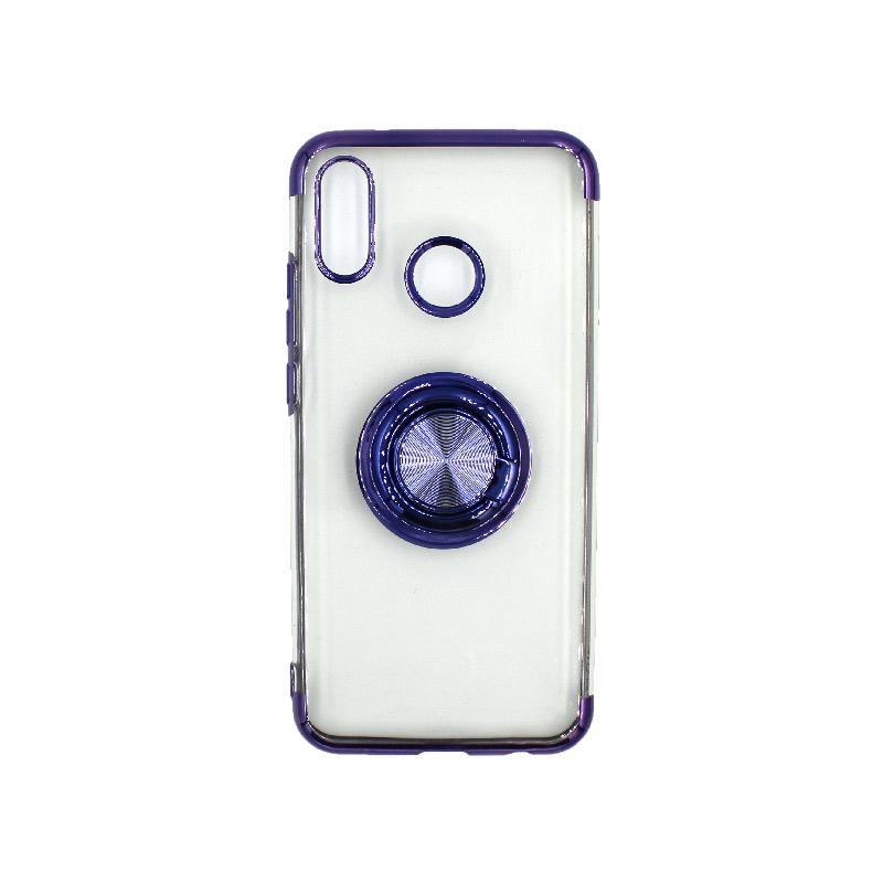Θήκη Huawei P20 Lite Διάφανη Σιλικόνη με Popsocket μπλε 1