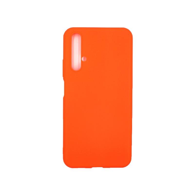 Θήκη Honor 20 / Huawei Nova 5T Silky and Soft Touch Silicone (Double Hole) πορτοκαλί