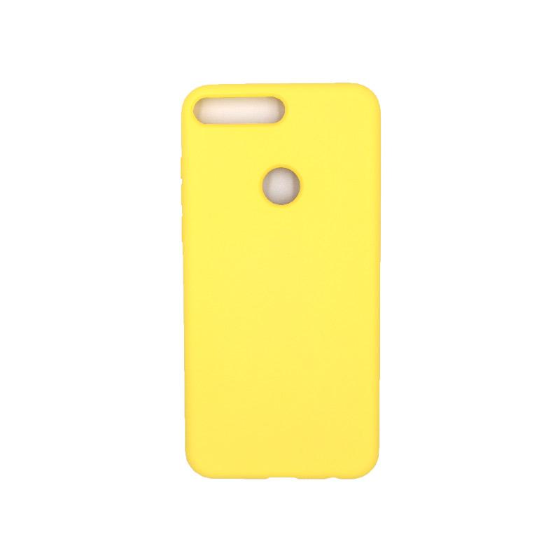 Θήκη Huawei Y7 2018 Silky and Soft Touch Silicone κίτρινο 1