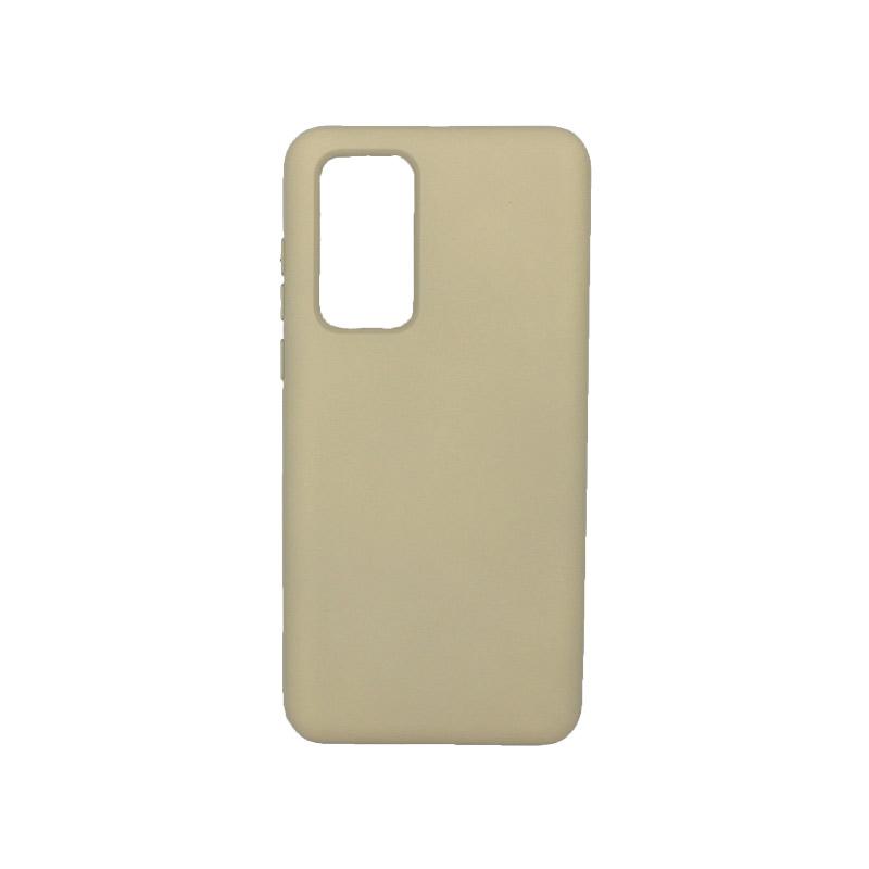 Θήκη Huawei P40 Silky and Soft Touch Silicone μπεζ 1