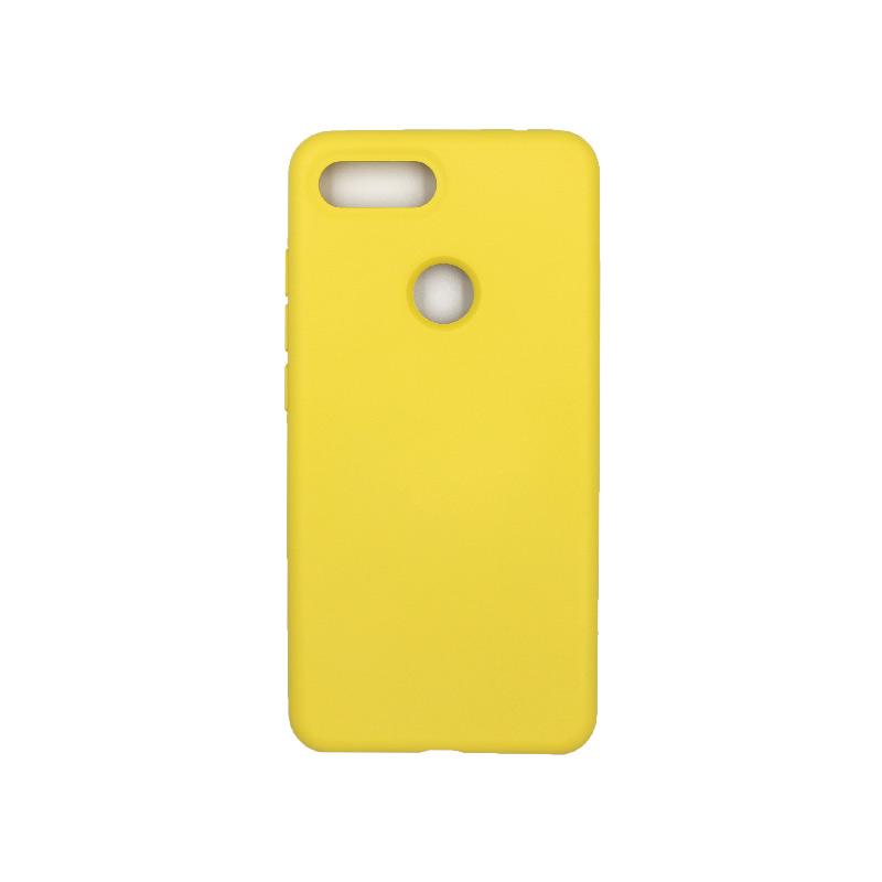θήκη Xiaomi Mi 8 Lite silky and soft touch silicone κίτρινο1