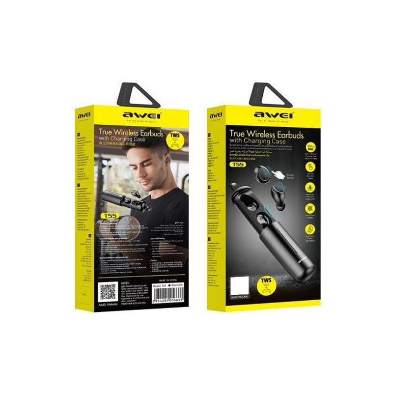 Ασύρματα Bluetooth Ακουστικά Awei T55 Μαύρο-3
