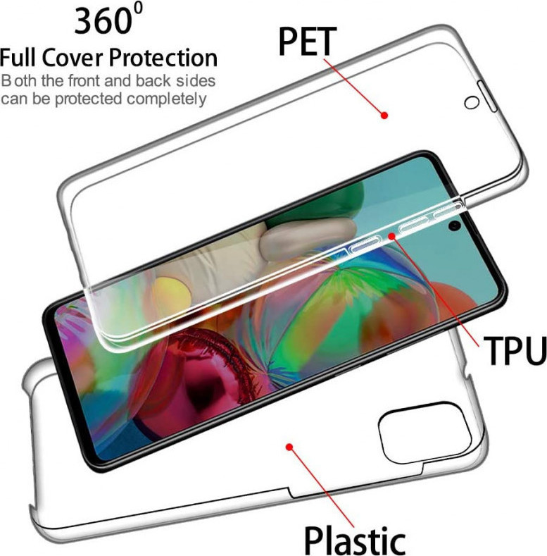 Θήκη 360 Full Cover Σιλικόνης Διάφανο Samsung Galaxy A71 2
