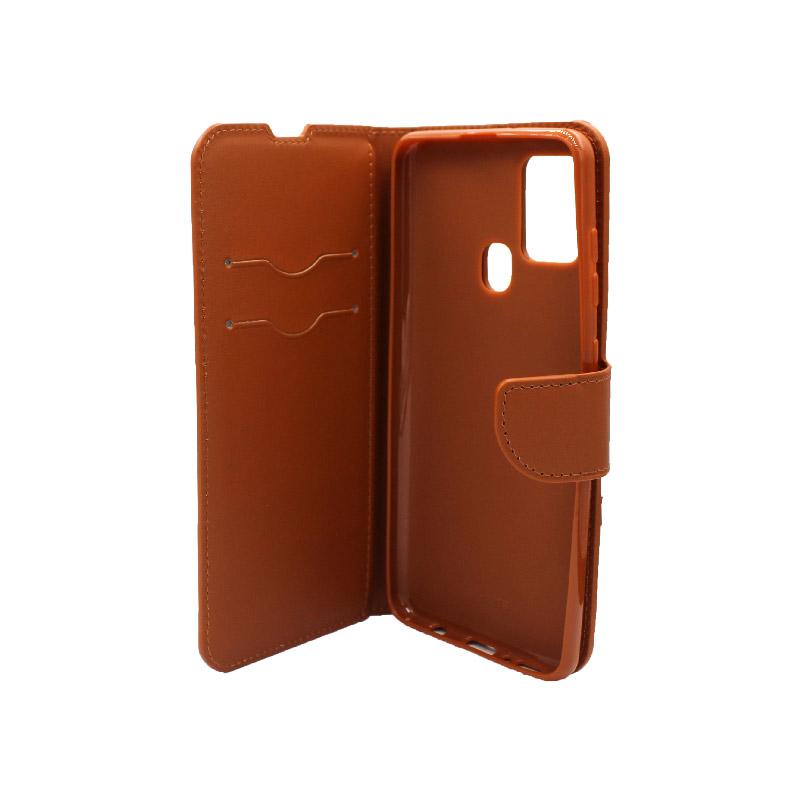 Θήκη Samsung Galaxy A21s Wallet καφε 3