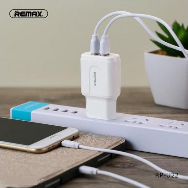 Φορτιστής Remax RP-U22 2x USB & Type-C Καλώδιο Λευκό diafimistiko