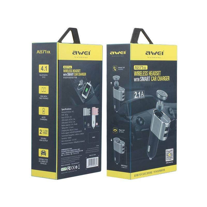 Επαναφορτιζόμενο Ασύρματο Bluetooth Ακουστικό Awei A871BL με Αυτοκινήτου Μαύρο συσκευασία