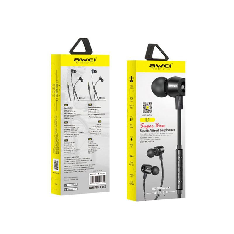 Ακουστικά Handsfree Awei L1 Super Bass Μαύρο συσκευασία