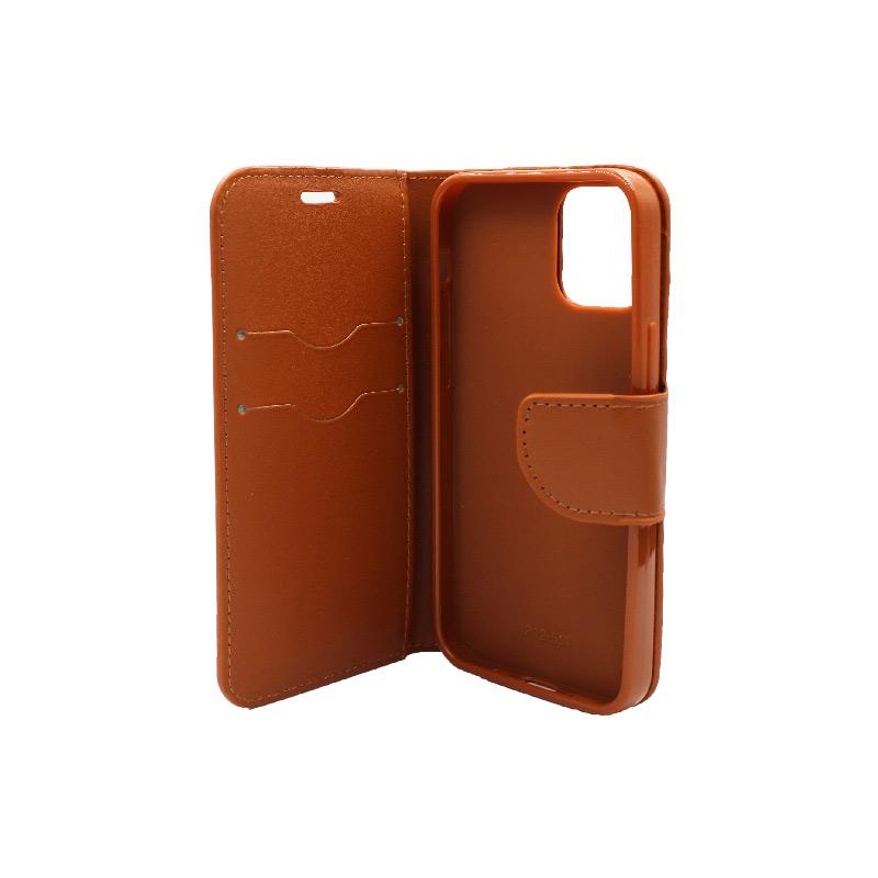 Θήκη iPhone 12 Mini Wallet καφέ 3