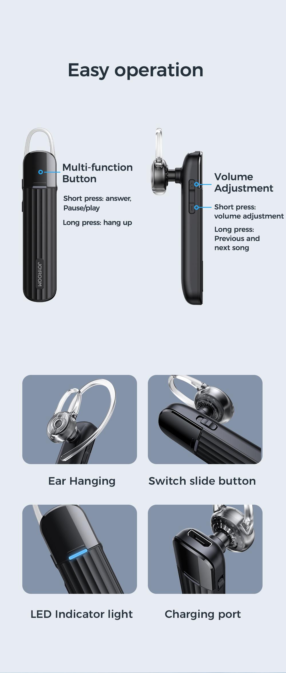 Ασύρματο Bluetooth Headset Ακουστικό Joyroom JR-B01-1