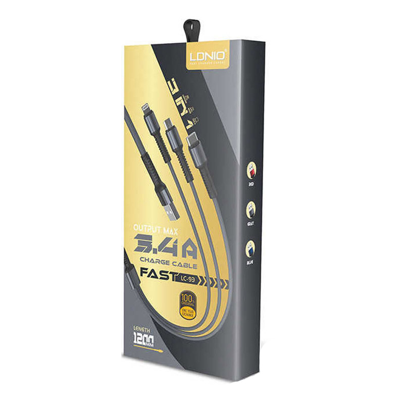 LDNIO LC93 Fast Data Cable 3in1 Regular USB to Lightning / Type-C / Micro USB Καλώδιο Μαύρο-1