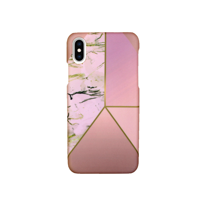 Θήκη iPhone X / XS Pink Marble Triangles