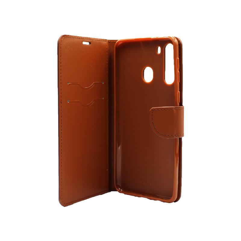 Θήκη Samsung Galaxy A21 Wallet Καφέ 3