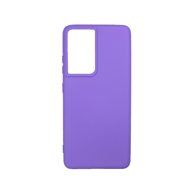 Θήκη Samsung Galaxy S21 Ultra Silky and Soft Touch Silicone μώβ-1