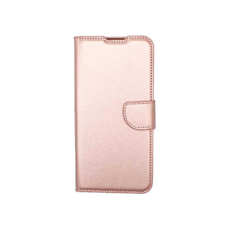 Θήκη Xiaomi Redmi 9C Wallet-ροζ χρυσό