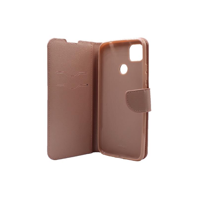 Θήκη Xiaomi Redmi 9C Wallet-ροζ χρυσό 3
