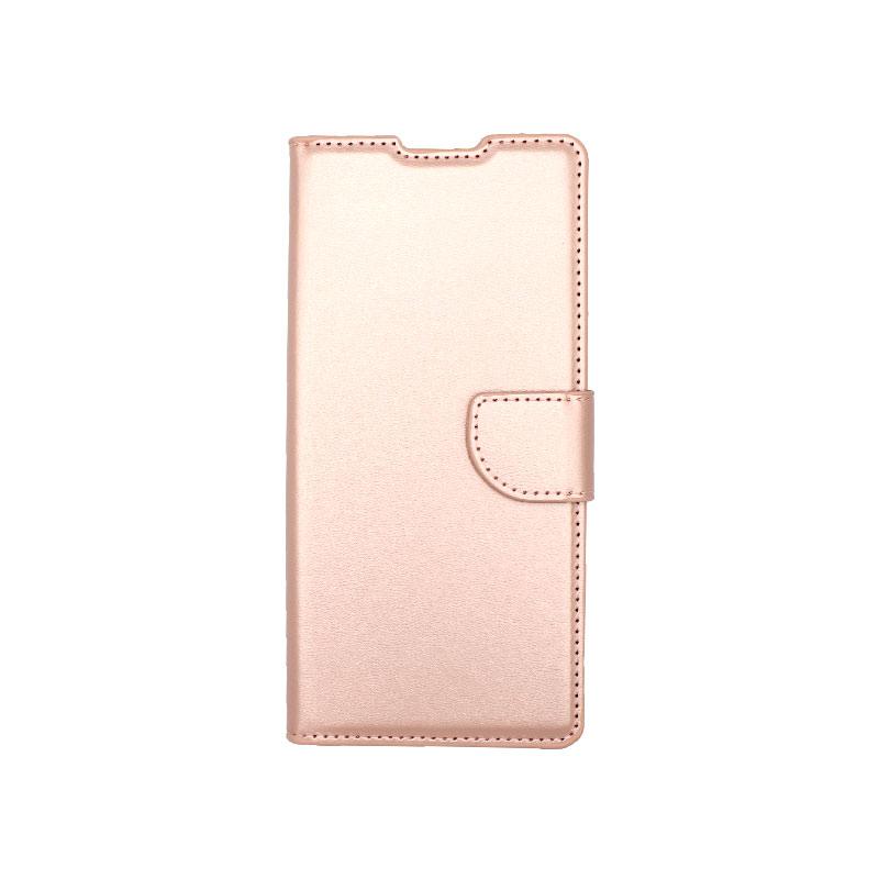 Θήκη Huawei Mate 40 Pro Wallet Ροζ Χρυσό-1